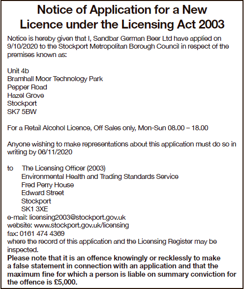 NOTICE OF APPLICATION FOR NEW LICENSE
